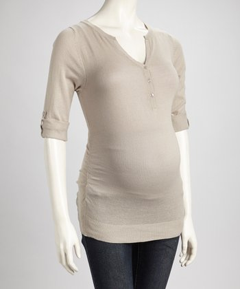 Oatmeal Ruched Maternity Henley Sweater - Women