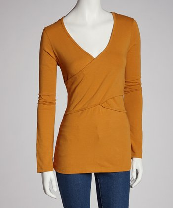 Saffron Nursing Crisscross Long-Sleeve Top - Women