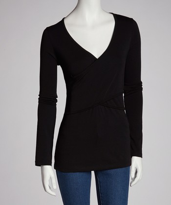 Black Crisscross Long-Sleeve Nursing Top