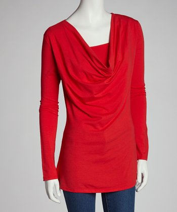Red Nursing Drape Neck Long-Sleeve Top - Women