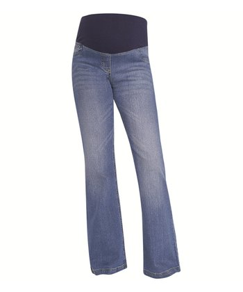 Indigo Denim over-Belly Maternity Bootcut Jeans