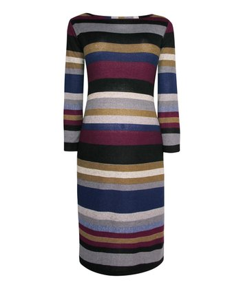 Wine & Blue Stripe Maternity Tube Dress