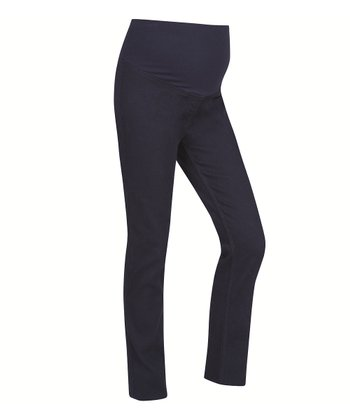 Black Twill Over-Belly Maternity Jeggings