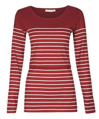 Red & White Stripe Nursing Long-Sleeve Top