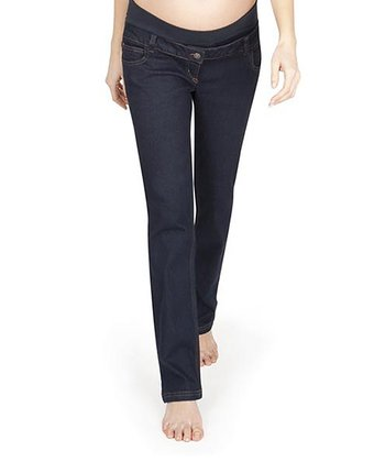 Dark Wash Under-Belly Maternity Straight Leg Jeans