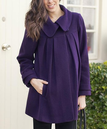 Purple Wool-Blend Maternity Short Swing Jacket