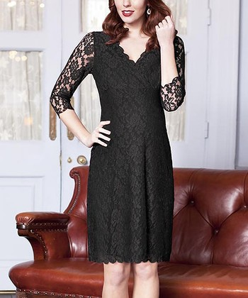 Black Lace Maternity Shift Dress