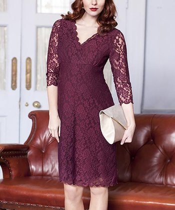 Wine Lace Maternity Shift Dress