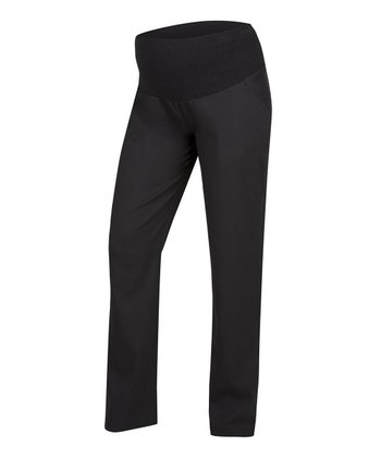Black Over-Belly Maternity Straight Leg Pants