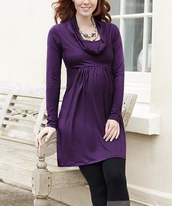 Grape Maternity Cowl Neck Tunic Dress