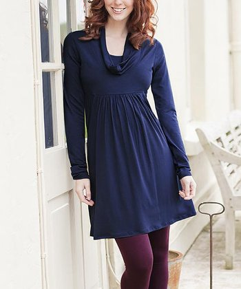 Midnight Maternity Cowl Neck Dress
