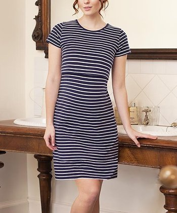 Navy & Ecru Stripe Nursing Nightgown