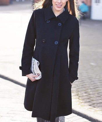 Black Wool-Blend Maternity Long Peacoat