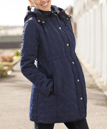 Navy Quilted Maternity Hooded Jacket