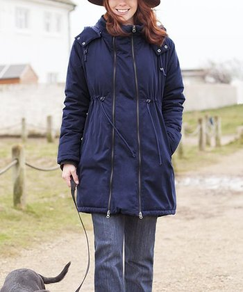Navy Maternity Two-in-One Padded Jacket