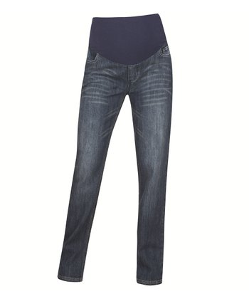 Indigo Over-Belly Maternity Straight Leg Jeans