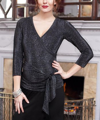 Black Shimmer Maternity Wrap Top