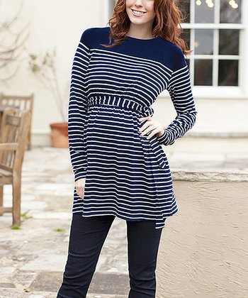 Navy & Ecru Breton Stripe Maternity Boat Neck Tunic