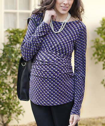 Purple Spot Ruched Maternity Top