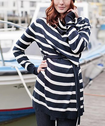 Navy & Ecru Stripe Maternity & Nursing Four-in-One Cardigan