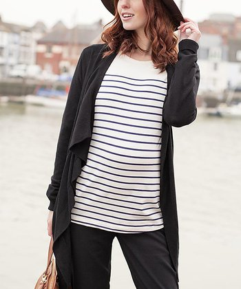 Black Maternity & Nursing Four-in-One Cardigan