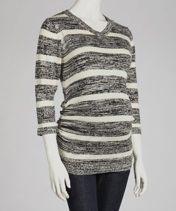 Black & Ivory Bold Stripe Maternity Sweater