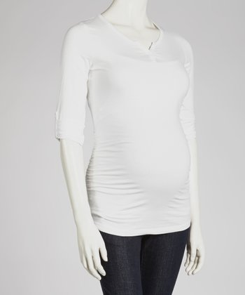 White Maternity Henley - Women
