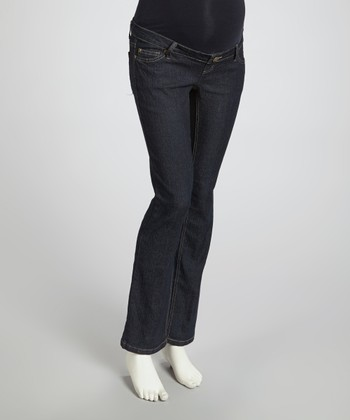 Blue Rinse Wash Over-Belly Maternity Jeans - Women