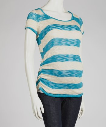 Teal Stripe Ruched Maternity Top - Women