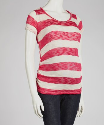 Fuchsia Stripe Ruched Maternity Top - Women