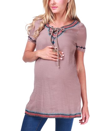 Mocha Embroidered Maternity Tunic - Women