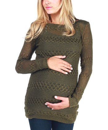 Olive Sparkle-Accent Maternity Sweater