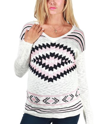 Ivory Tribal Maternity Sweater