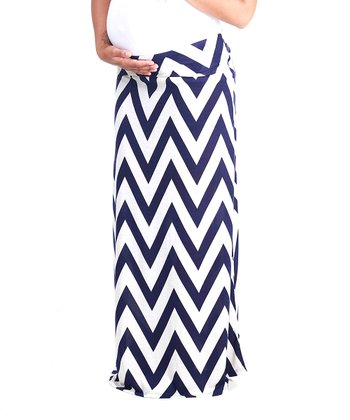 Navy Blue & White Zigzag Maternity Maxi Skirt