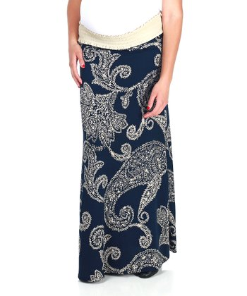 Navy Blue & Cream Paisley Maternity Maxi Skirt
