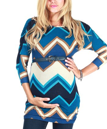 Blue Taupe Zigzag Belted Maternity Top