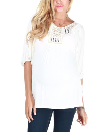 White Embroidered Maternity Tunic