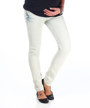 Light Wash Over-Belly Maternity Skinny Jeans