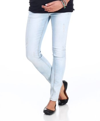 Light Blue Distressed Over-Belly Maternity Skinny Jeans