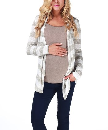 Mocha Stripe Maternity Open Cardigan