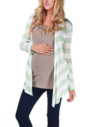 Mint Green Stripe Maternity Open Cardigan