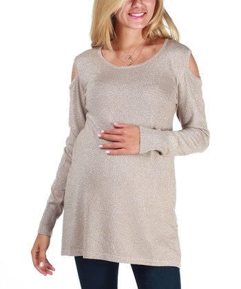 Mocha Sparkle Maternity Cutout Top