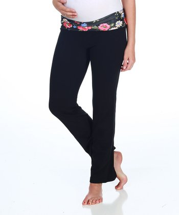 Black Floral Maternity Yoga Pants - Women