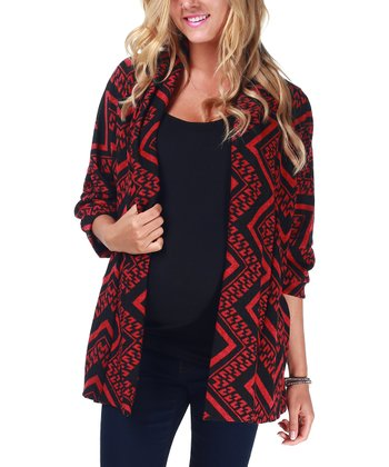 Red & Black Tribal Maternity Open Cardigan