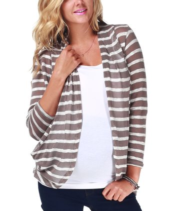 Mocha & White Stripe Maternity Open Cardigan