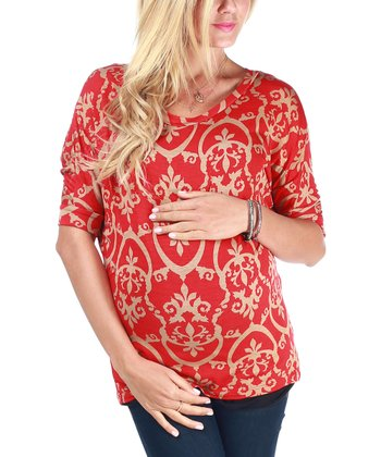 Red & Beige Damask Maternity Top