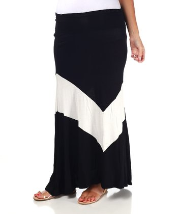Black & White Zigzag Maternity Maxi Skirt