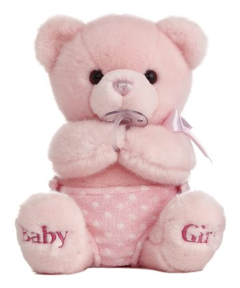 Pink 'Baby Girl' Diaper Baby Musical Bear Plush Toy