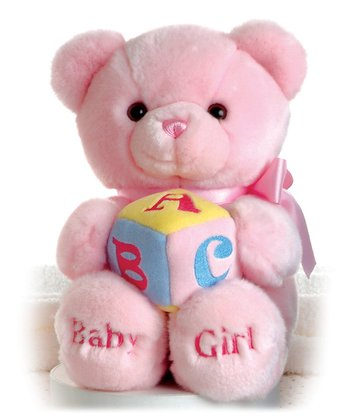 Pink 'Baby Girl' ABC Block Musical Bear Plush Toy