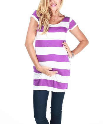 Purple & White Stripe Maternity Short-Sleeve Top - Women